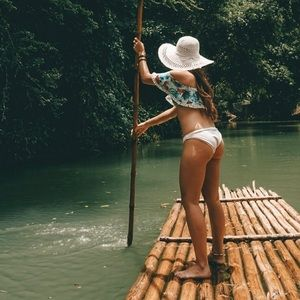 Off the shoulder tropical swimsuit